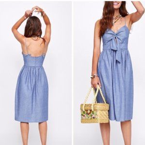 Zara Chambray Cutout Front Tie Summer Dress
